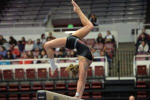Stanford, CA - January 12, 2014: The University of Georgia Bulldogs competing in women's gymnastics (Photo by Scott Clarke / ESPN Images)