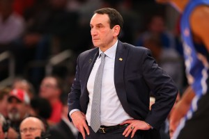 New York, NY - January 25, 2015 - Madison Square Garden: Head Coach Mike Krzyzewski of the Duke University Blue Devils wins his 1000th career victory against the St. John's University Red Storm during a regular season game (Photo by Allen Kee / ESPN Images)