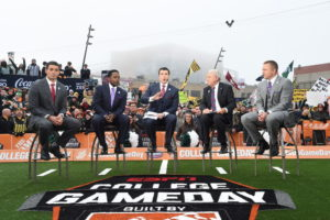Indianapolis, IN - December 5, 2015 - Pan Am Plaza: David Pollack, Desmond Howard, Rece Davis, Lee Corso and Kirk Herbstreit on the set of College GameDay Built by the Home Depot during coverage of the 2015 Big Ten Championship game (Photo by Scott Clarke / ESPN Images)