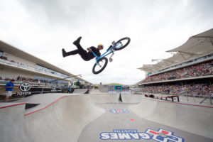 Austin, TX - June 4, 2016 - Circuit of The Americas: Daniel Sandoval competing in Toyota BMX Park during X Games Austin 2016 (Photo by Pete Demos / ESPN Images)
