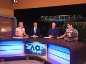 Australian Open - Federer with trophy on set