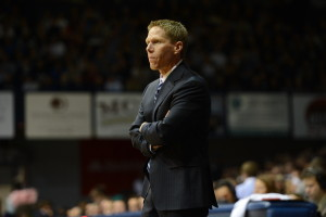 Indianapolis, IN - January 20, 2013 - Hinkle Fieldhouse: Coach Mark Few of the Gonzaga University Bulldogs during a regular season game (Photo by Allen Kee / ESPN Images)