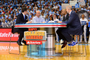 Chapel Hill, NC - March 7, 2015 - Dean Smith Center: Rece Davis, Roy Willimas, Jay Williams and Jay Bilas on the set of College GameDay Covered by State Farm (Photo by Phil Ellsworth / ESPN Images)