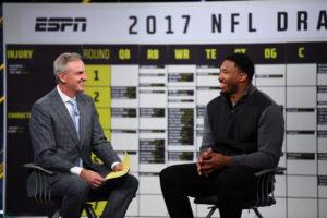 Bristol, CT - April 10, 2017 - Studio W: Trey Wingo and Myles Garrett on the set of NFL Live (Photo by Joe Faraoni / ESPN Images)
