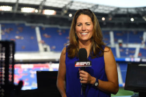 Harrison, N.J. - May 30, 2015 - Red Bull Arena: Julie Foudy during the United States Women's National Soccer Team / South Korea Women's National Football Team international friendly match (Photo by Joe Faraoni / ESPN Images)