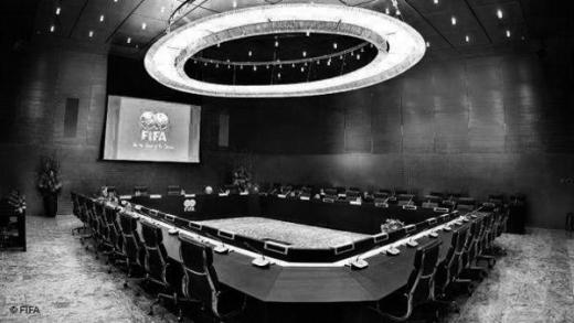 This is actually FIFA's boardroom. As John Oliver says, it's straight out of Dr. Strangelove.