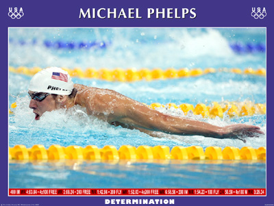 "Michael Phelps ""Determination"" (Butterfly) Poster"