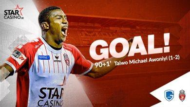 Photo of Genk 1 Royal Excel Mouscron 2: Taiwo Awoniyi scores late winner to keep 100% goal scoring record