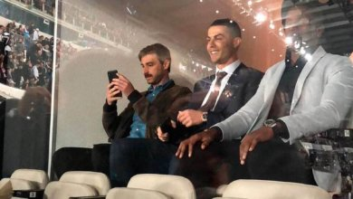 Photo of Cristiano Ronaldo in the stand as Vinicius Jr. breaks a Lionel Messi's record