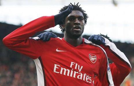 Emmanuel Adebayor celebrating a goal in Arsenal's colour