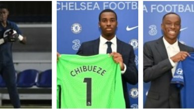 Photo of Derrick Abu, Kelechi Chibueze, and Prince Adegoke amongst Chelsea new academy scholars
