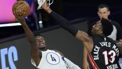Photo of Bam Adebayo and Victor Oladipo go at it as Heat complete a 4-0 sweep of Pacers