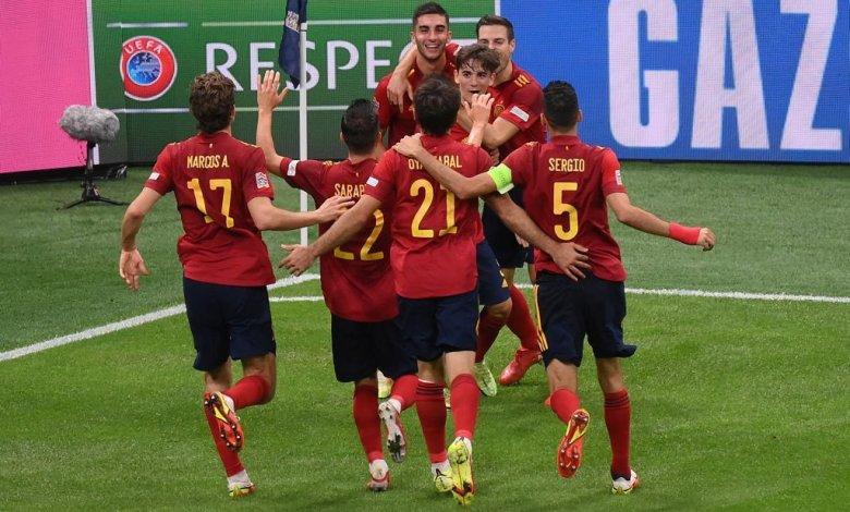 Spain celebrate second goal in UEFA Nations League semifinal