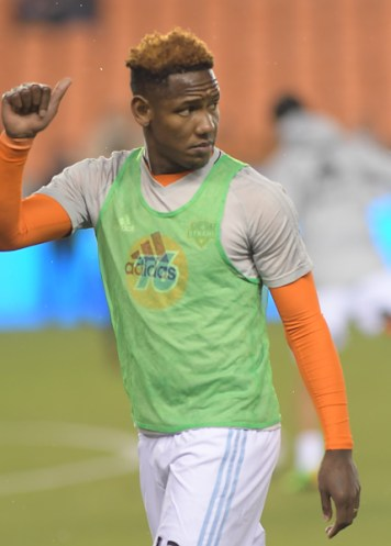Houston Dynamo Forward Romell Quioto #12 warms up before a match between the Houston Dynamo vs Seattle Sounders FC