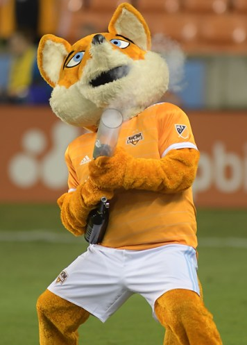 Houston Dynamo mascot Diesel interacts with the fans During match between the Houston Dynamo vs Seattle Sounders FC