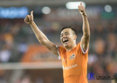 Houston Dynamo Forward Erick Torres #9 celebrtes aftre scoring During a game between the Houston Dynamo and Columbus Crew SC, week 2 of the 2017 MLS season.The Dynamo would win by a score of 3-1