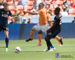 Houston Dynamo Midfielder Alex #14 gets fouled During a match between the Houston Dynamo vs San Jose Earthquakes, Goals from Houston Dynamo Forward Erick Torres #9and Houston Dynamo Forward Alberth Elis #17 Would earn the dynamo a win by a score of 2 to 0.April 22,2017 BBVA Compass Stadium