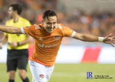 Houston Dynamo Forward Erick Torres #9 celebrates goal number 2 of the match between the Houston Dynamo vs The New York Red bulls April 1,2017 BBVA Compass Stadium