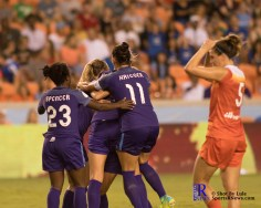 Orlando Pride teammates celebrate During a match between the Houston Dash vs Orlando Pride Final Score Dash 2,Orlando 4 ,Houston Tx, 2017.