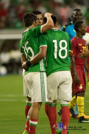 Mexico's Midfielder Rodolfo Pizarro #15 celebrate after Mexico's Midfielder Jesus Gallardo #18 gets called for a PK During a match between Mexico National Team and Ghana National Team at NRG Stadium ,June 28,2017 Houston Tx.