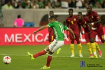 Mexico's Forward Elias Hernandez #11 scores on a penalty kick During a match between Mexico National Team and Ghana National Team at NRG Stadium ,June 28,2017 Houston Tx.
