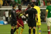 Ghana Midfielder Frank Acheampong #22 argues with the ref after the game ends between Mexico National Team and Ghana National Team at NRG Stadium ,June 28,2017 Houston Tx.
