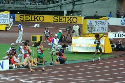 World Athletics Championships 2007 in Osaka - at the finishing line of the women's 800 metres - winner Janeth Jepkosgei (right), second Hasna Benhassi and third Mayte Martinez. Photo by Eckhard Pecher.