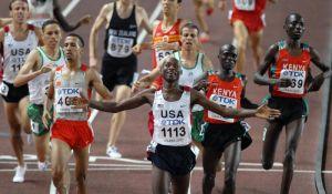 1 500 m final at the World Championship Athletics 2007 in Osaka. Tarek Boukensa, Rashid Ramzi, Bernard Lagat, Antar Zerguelaine, Shedrack Kibet Korir, Asbel Kiprop. Photo by Erik van Leeuwen.