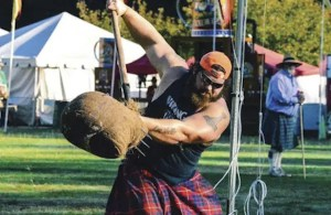 Byron Hamilton, one of the participants in the Scottish Highland Games.