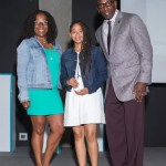 Oakland A's Detra Paige and Atlanta Falcons VP present the Middle School Student Athlete of the Year Award to Liz Sanchez, Montera!