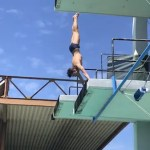 Daniel Zabronsky doing an arm stand somersault Pike from the 5 m platform.