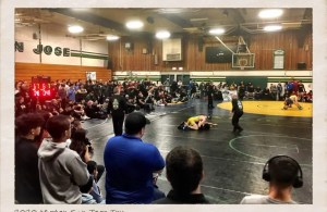 Long time tradition – Crowd surrounds the mats during the Mission San Jose Invitational Semi-Finals