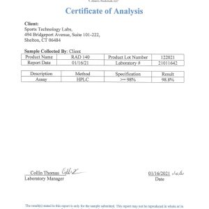 RAD140 Testolone COA from sports technology labs showing 98.8% purity