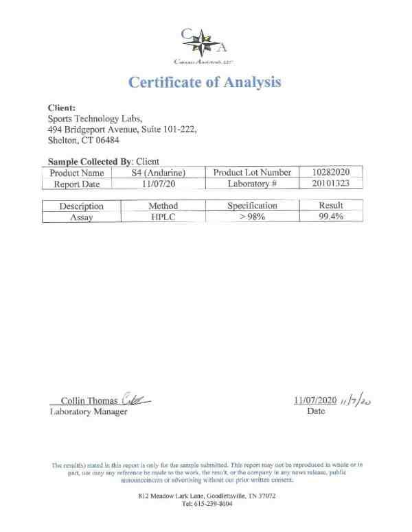 S4 (andarine) certificate of analysis