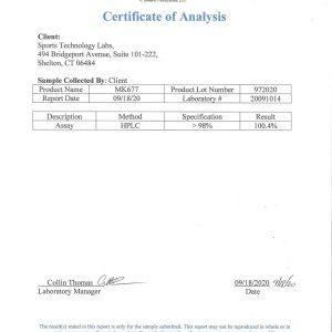 mk677 certificate of analysis