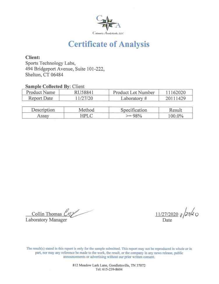 RU58841 certificate of analysis