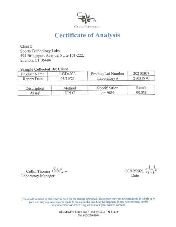 LGD4033 certificate of analysis