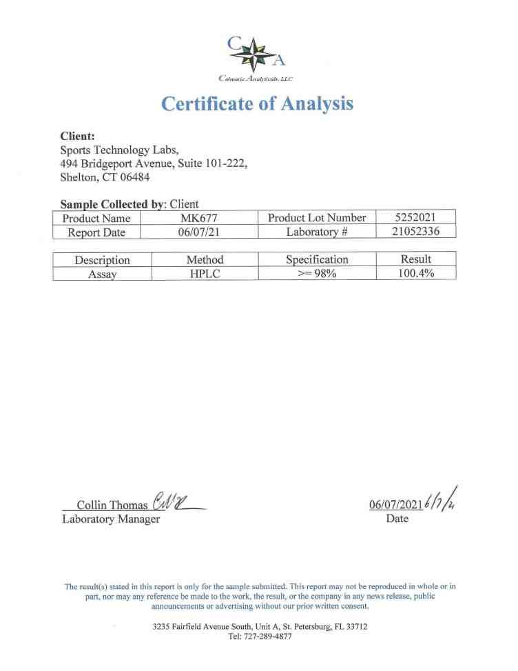 Ostarine certificate of analysis