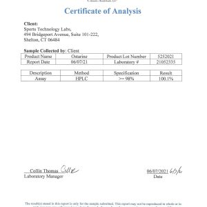 Third party lab test results for Sports Technology Labs Ostarine (MK2866, Enobosarm) showing 98.4% Purity