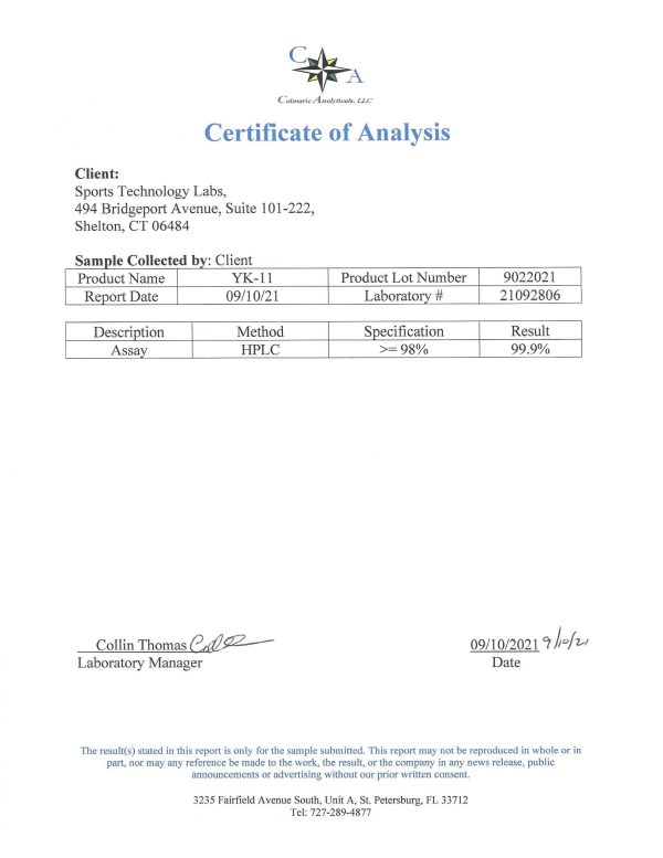 yk11 certificate of analysis