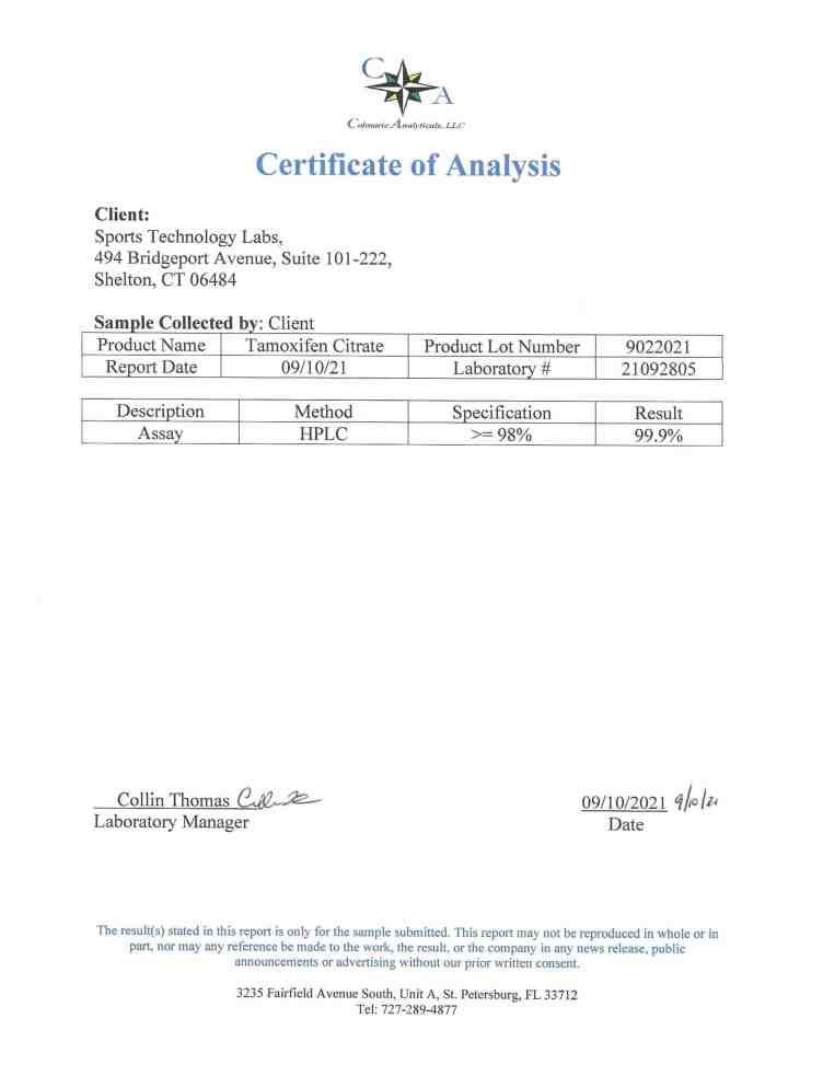 Tamoxifen nolva COA sports technology labs