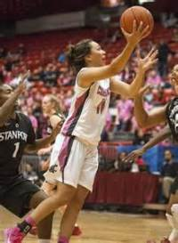 Dawynelle Awa hit three three pointers in the second half, she scored 11 points. (Courtesy of the AP)