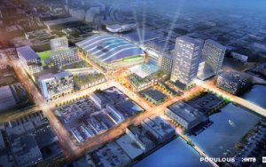 An artist rendition of the arena site and ancillary developments. (Courtesy of the Journal Sentinel)
