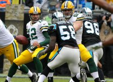 Rodgers struggled against the Carolina defense on Sunday. (Rick Wood/Journal Sentinel)