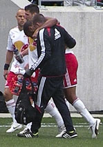 New York Red Bulls striker Thierry Henry injured his hamstring in an April 2012 game. Photo by Matthew D. Britt (edited).