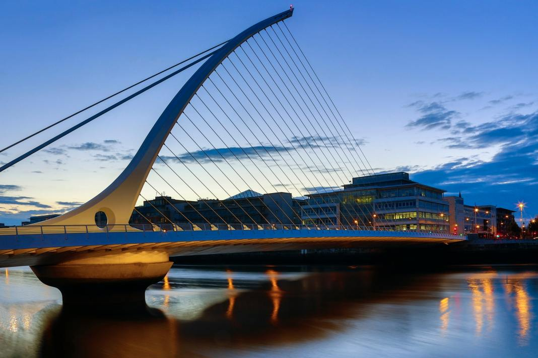 The Samuel Beckett Bridge and the building on the waterfront near the Convention Center - Dublin