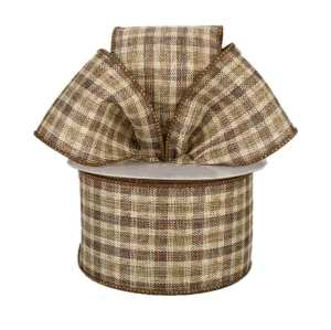 Brown and Cream Plaid Ribbon