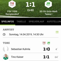 FSV 1999 Remptendorf -  SG SV Grün-Weiß Tanna 1:1 (1:0)