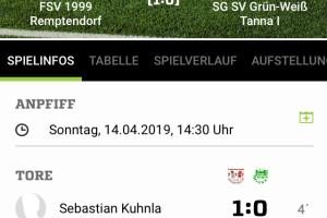 FSV 1999 Remptendorf –  SG SV Grün-Weiß Tanna 1:1 (1:0)
