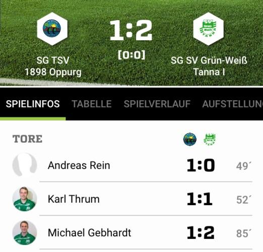 SG TSV 1898 Oppurg - SG SV Grün-Weiß Tanna 1:2 (0:0)